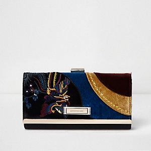 Black velvet panel clip top purse