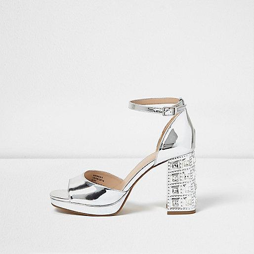 Silver embellished block heel sandals