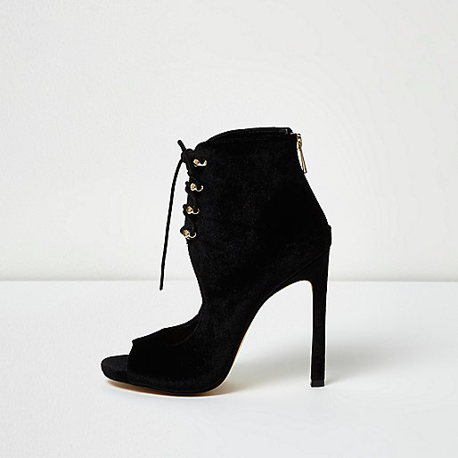 Black velvet cut-out shoe boots