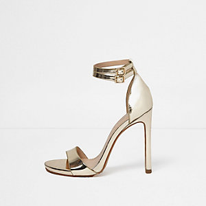 Gold metallic barely there heels