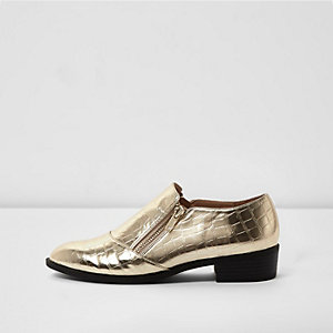 Gold scale zip monk shoes