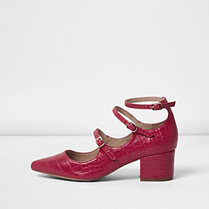 Red croc strappy Mary Jane shoes
