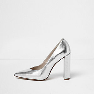 Silver leather look block heel court shoes