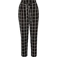 Pantalon fuselé noir doux à carreaux avec cordon