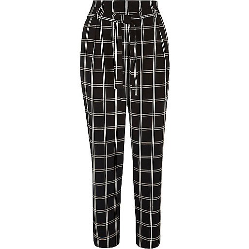 Black checked soft tie tapered pants