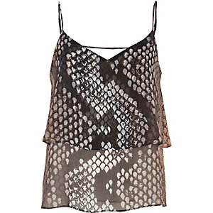 Pink print double layer cami