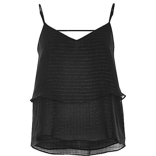 Black stripe double layer cami