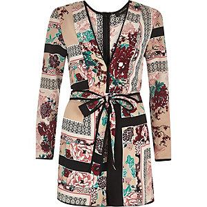 Pink print plunge pyjama playsuit