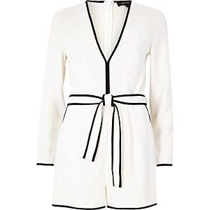 White plunge pajama romper