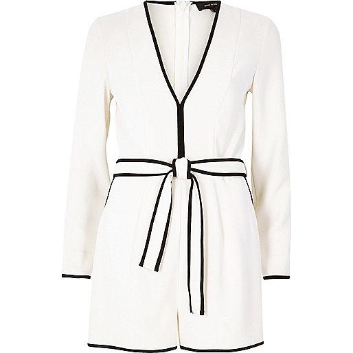 White plunge pyjama playsuit