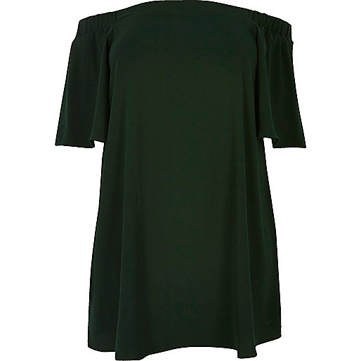 RI Plus green bardot swing dress