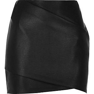 Black leather look wrap mini skirt