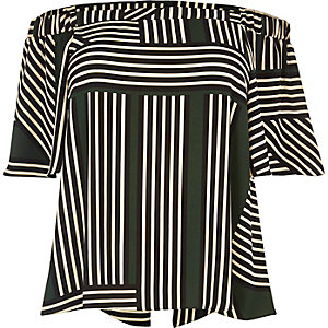 RI Plus green stripe bardot top