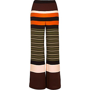 Green stripe straight leg trousers