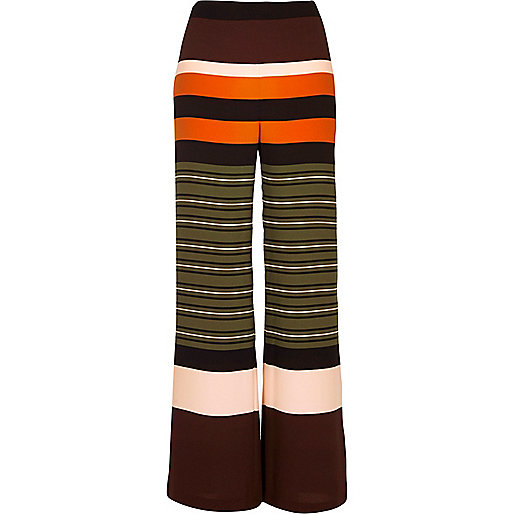 Green stripe straight leg pants