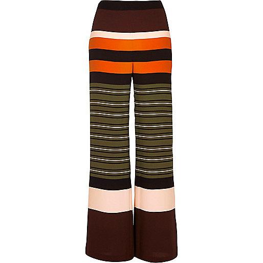 Pantalon droit rayé vert
