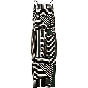 Green stripe print cami slip dress