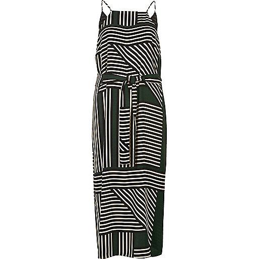 Green stripe print cami slip dress