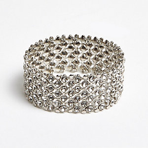 White crystal embellished thick bracelet