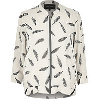 Cream feather print zip bomber jacket