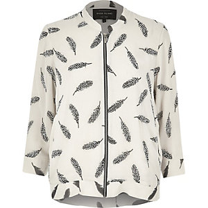 Cream feather print zip bomber jacket