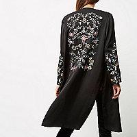 Black floral embroidered duster jacket