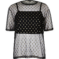 Black mesh star print boxy T-shirt