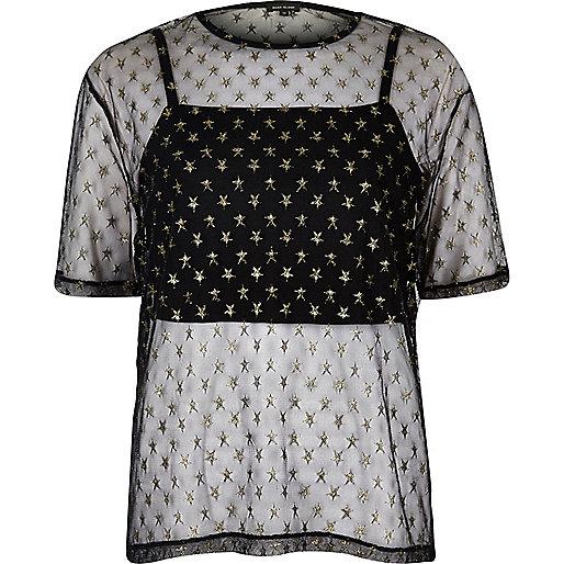 T-shirt en tulle noir imprimé étoile coupe carrée