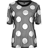 T-shirt en tulle à pois noir coupe carrée