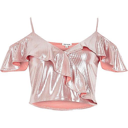 Metallic pink frilly cold shoulder crop top