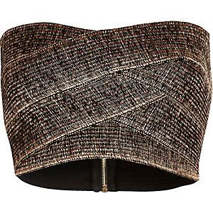 Bronze bandeau crop top