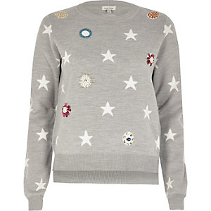 Grey embellished star knit jumper