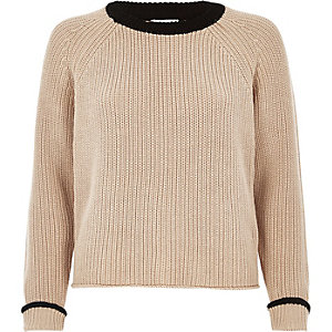 Nude and black knit cropped sweater