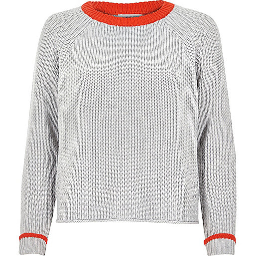 Grey and orange knit cropped sweater