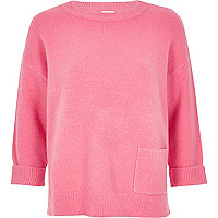 Pink knit pocket sweater