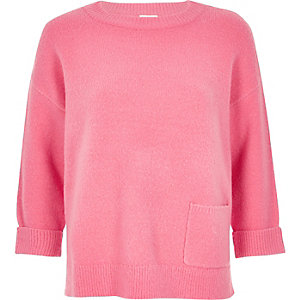 Pink knit pocket jumper