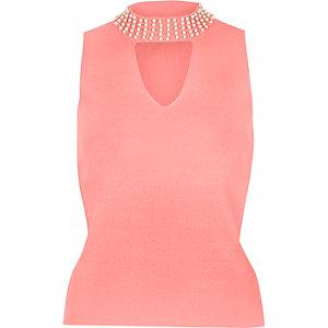 Pink embellished neck choker top