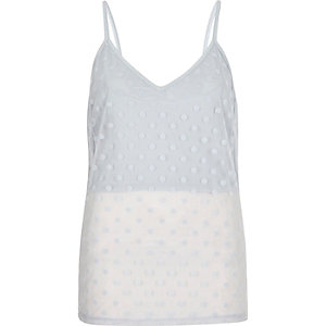 Light blue polka dot mesh layered cami