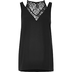 Black lace insert cami top