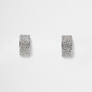 Silver tone embellished earrings