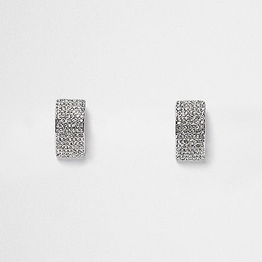 Silver tone embellished earrings