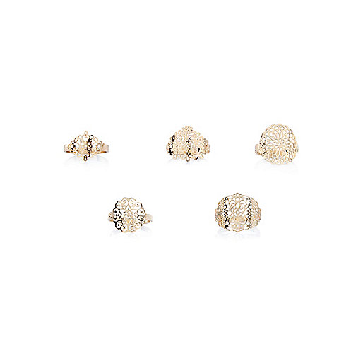 Gold tone filigree rings pack