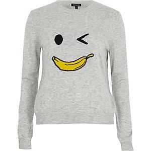 Pull en maille motif homme banane gris