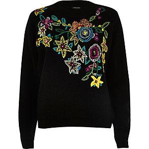 Schwarzer Pullover mit Blumenstickerei