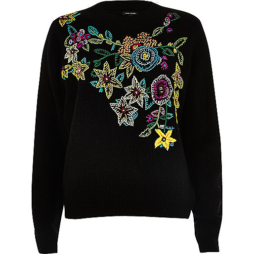 Black knit floral embroidered jumper