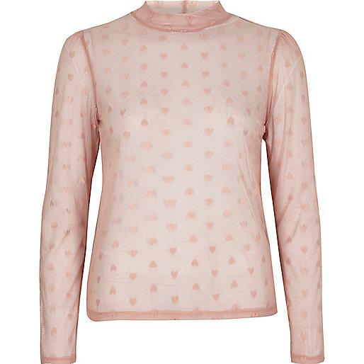 Light pink love heart mesh top