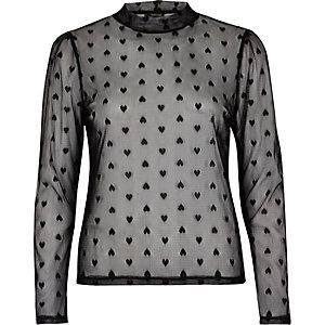 Black love heart mesh top