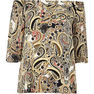 Cream paisley print bardot top