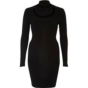 Black choker scoop neck ribbed dress