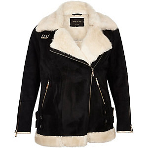 Plus black shearling aviator jacket